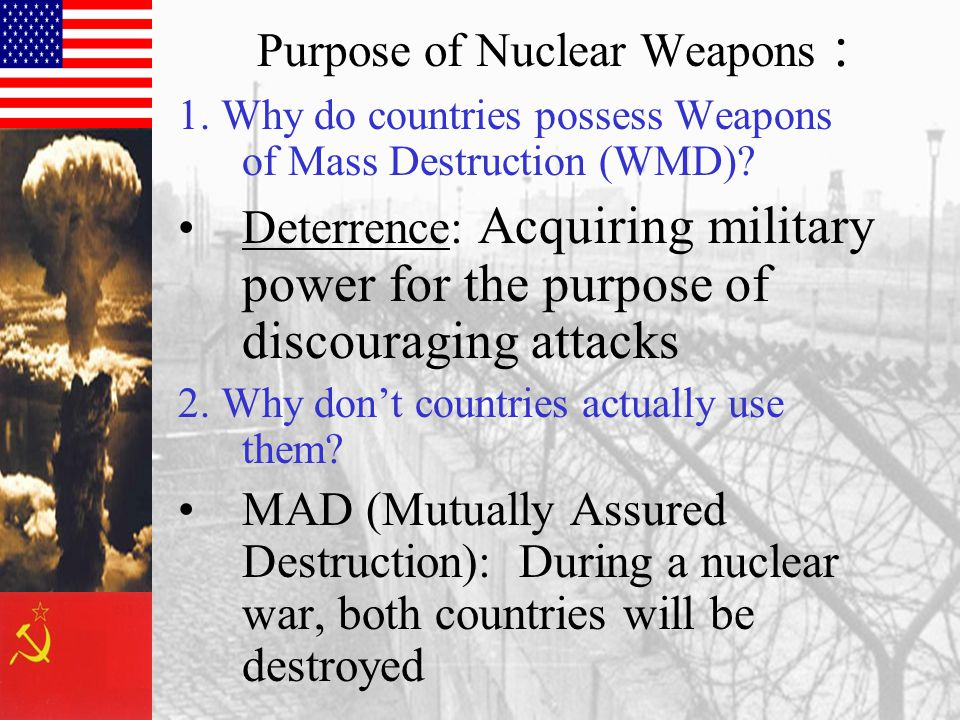 Purpose of Nuclear Weapons : 1. Why do countries possess Weapons of Mass Destruction (WMD).