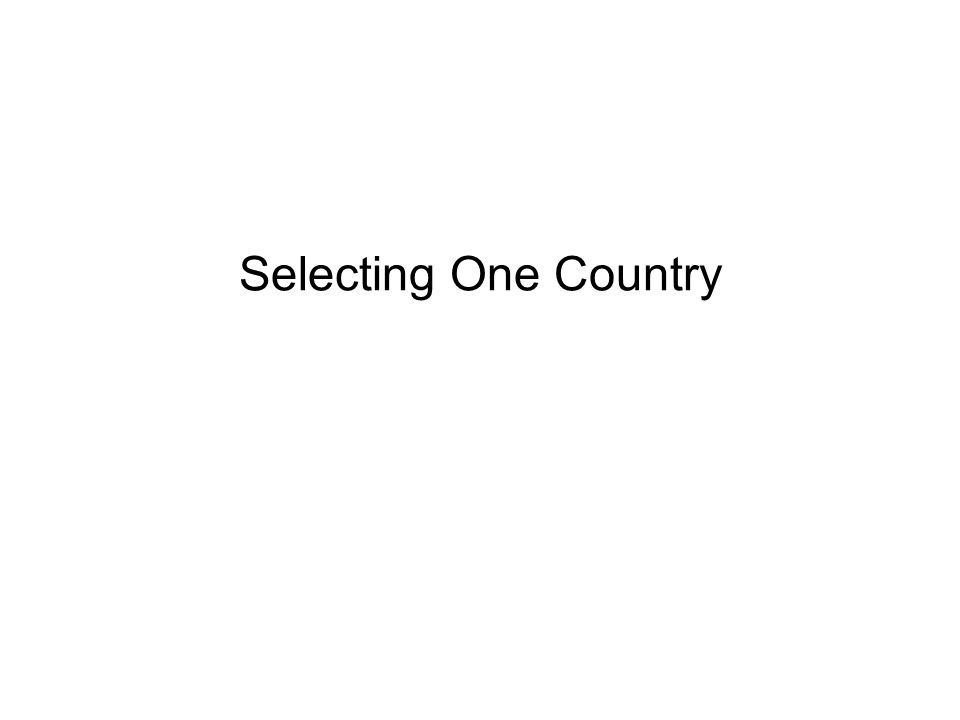 Selecting One Country