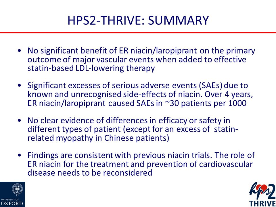 HPS2-THRIVE: SUMMARY No significant benefit of ER niacin/laropiprant on the primary outcome of major vascular events when added to effective statin-based LDL-lowering therapy Significant excesses of serious adverse events (SAEs) due to known and unrecognised side-effects of niacin.