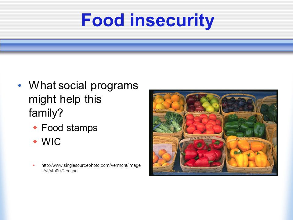 Food insecurity What social programs might help this family.