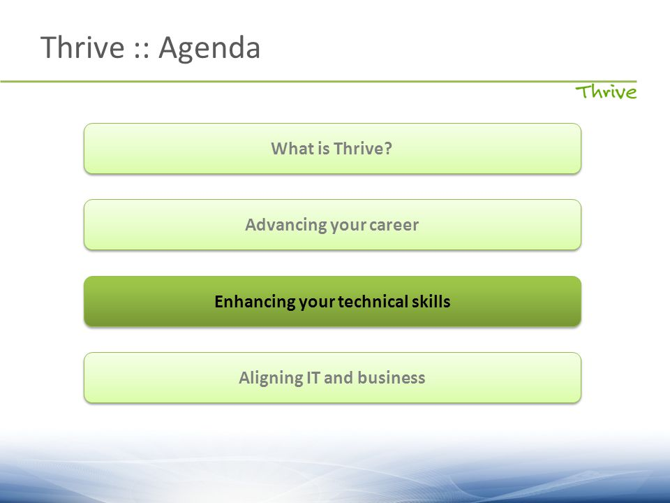 Thrive :: Agenda What is Thrive? Advancing your career Enhancing your technical skills Aligning IT and business