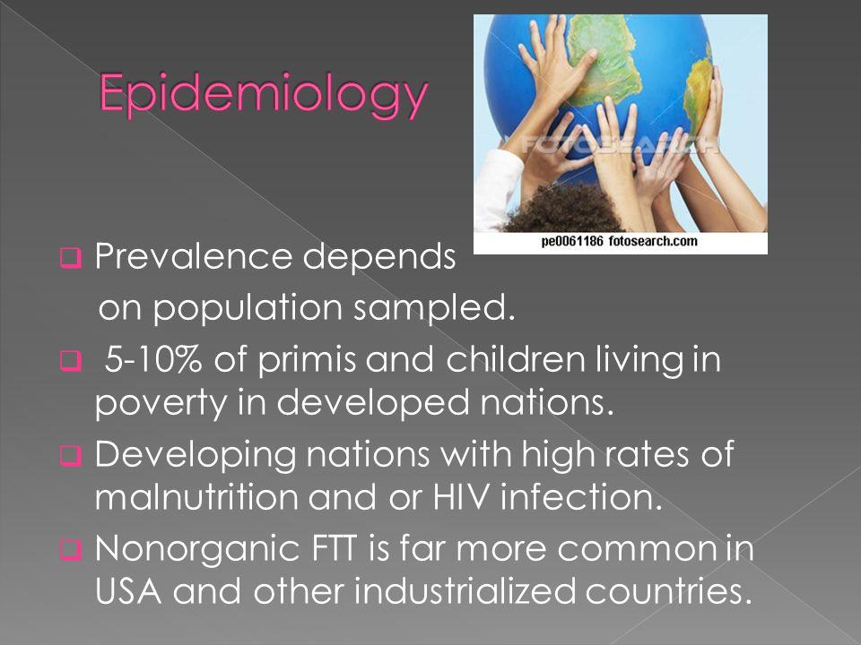 Prevalence depends on population sampled.