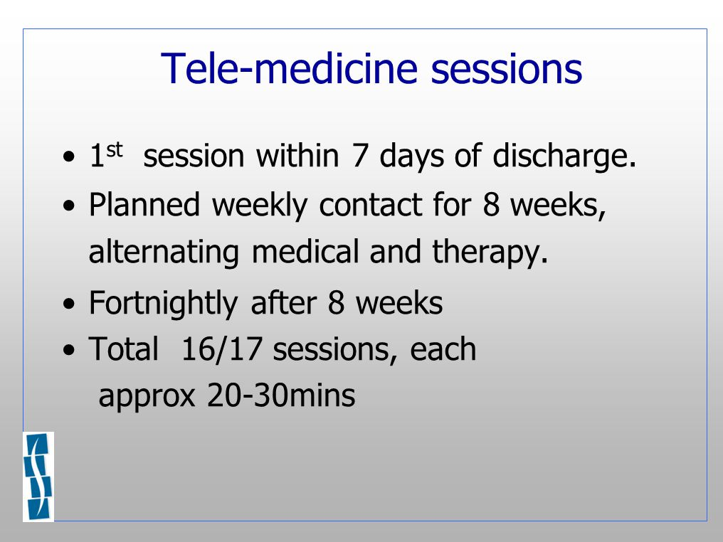 Tele-medicine sessions 1 st session within 7 days of discharge.