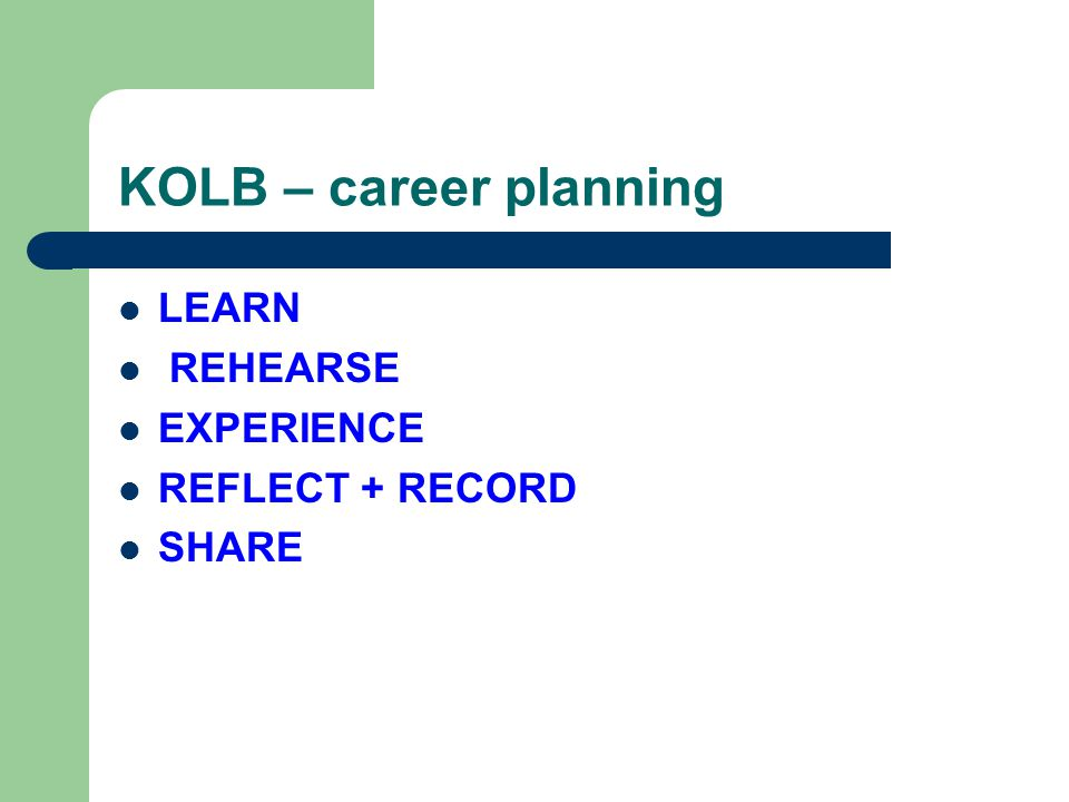 KOLB – career planning LEARN REHEARSE EXPERIENCE REFLECT + RECORD SHARE