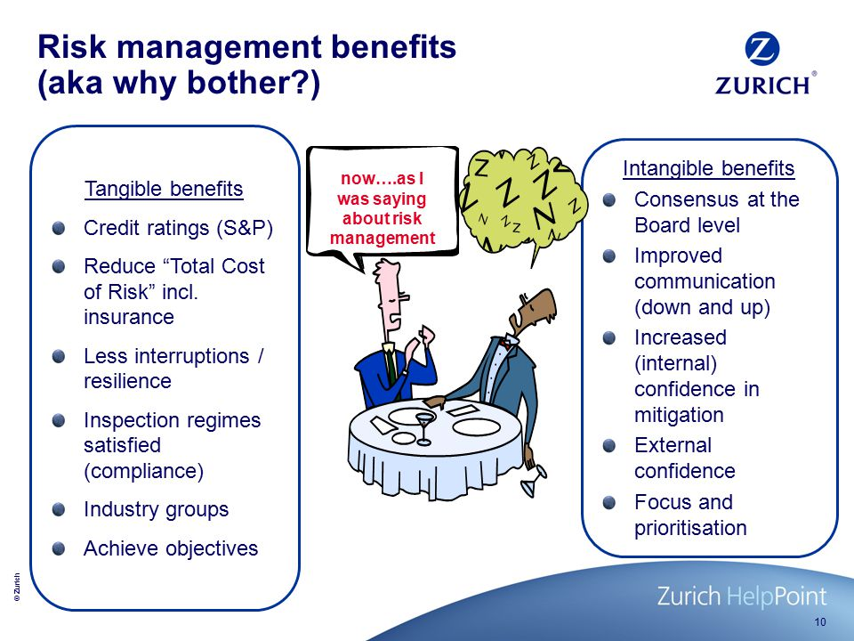 © Zurich 10 Tangible benefits Credit ratings (S&P) Reduce Total Cost of Risk incl.