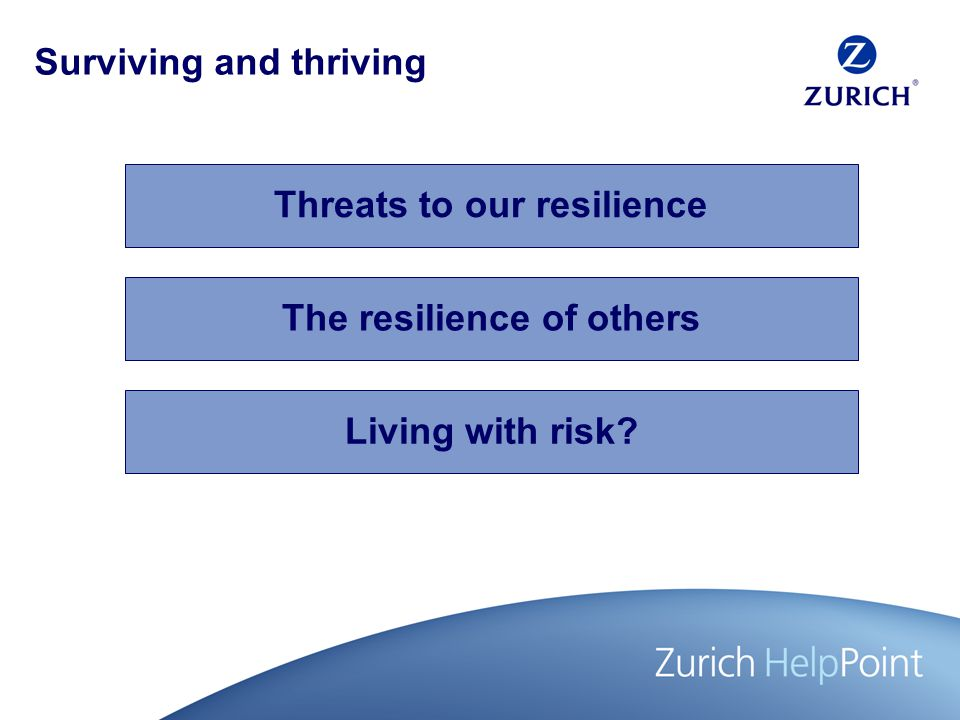 The resilience of others Living with risk Surviving and thriving Threats to our resilience