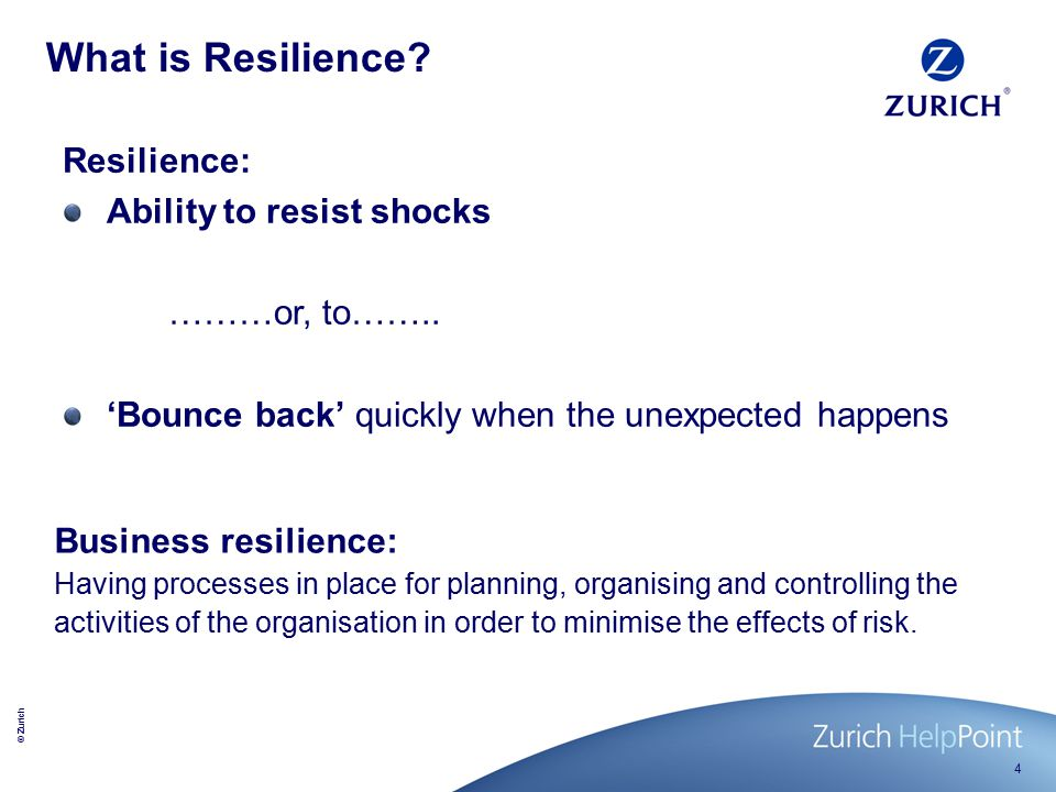© Zurich 4 What is Resilience.
