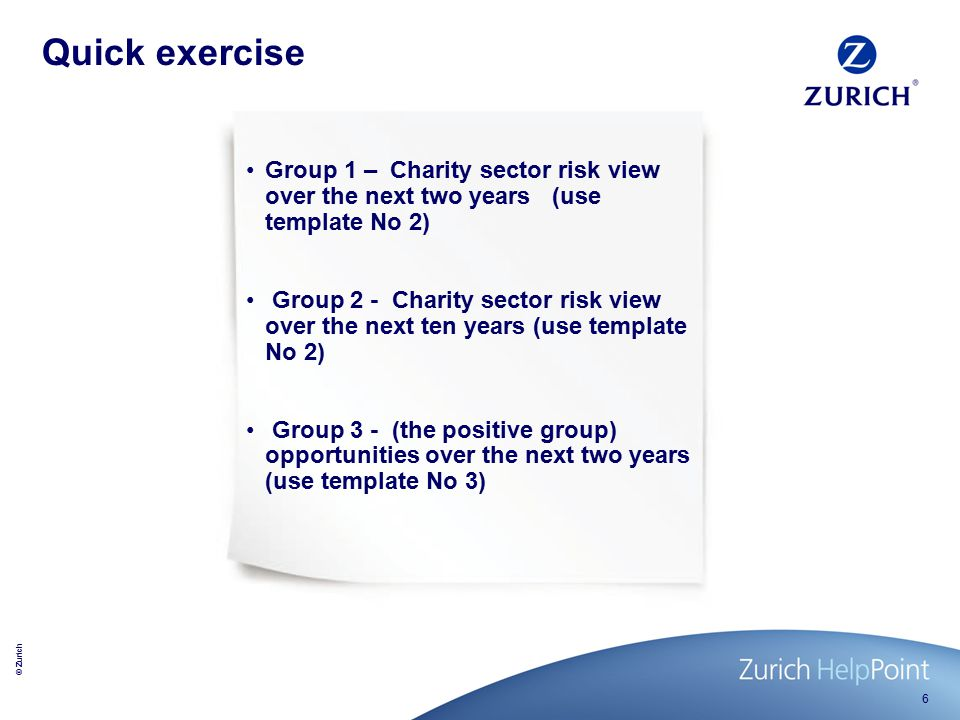 © Zurich 7 How do the results compare.Tough choices – Medium term view 1.