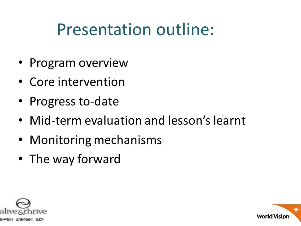 Presentation outline: Program overview Core intervention Progress to-date Mid-term evaluation and lesson's learnt Monitoring mechanisms The way forward