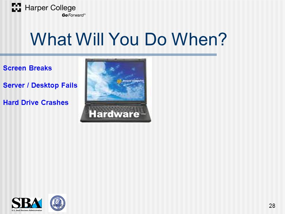 What Will You Do When 28 Hardware Screen Breaks Server / Desktop Fails Hard Drive Crashes