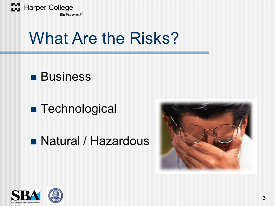 What Are the Risks Business Technological Natural / Hazardous 3