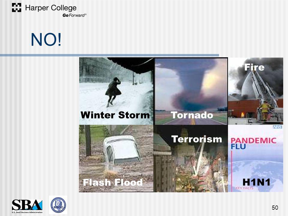 NO! 50 H1N1 Terrorism Fire Tornado Flash Flood Winter Storm Terrorism