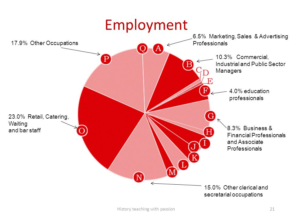 Employment 23.0% Retail, Catering, Waiting and bar staff 17.9% Other Occupations 15.0% Other clerical and secretarial occupations 8.3% Business & Fina