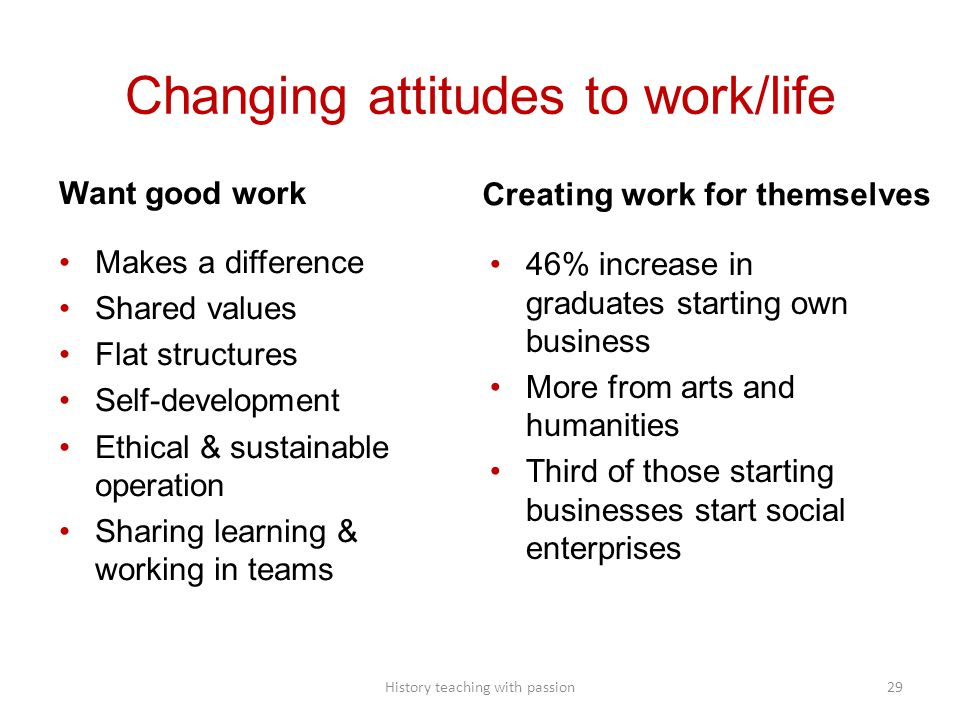 Changing attitudes to work/life Want good work Makes a difference Shared values Flat structures Self-development Ethical & sustainable operation Shari