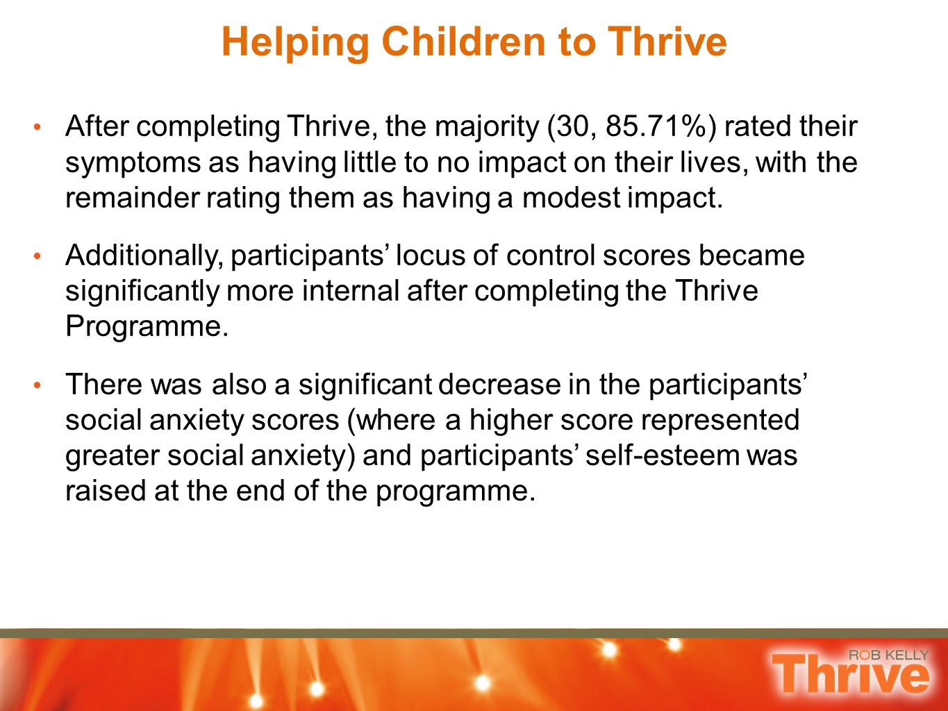 Helping Children to Thrive After completing Thrive, the majority (30, 85.71%) rated their symptoms as having little to no impact on their lives, with