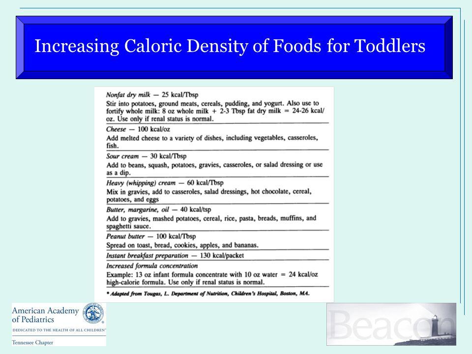 Increasing Caloric Density of Foods for Toddlers