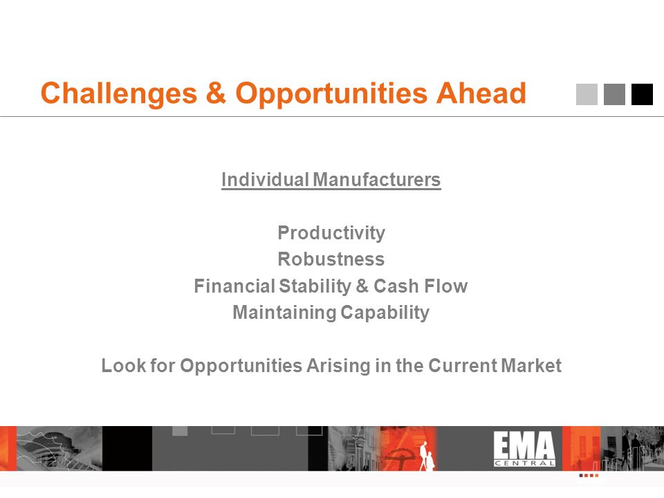 Challenges & Opportunities Ahead Individual Manufacturers Productivity Robustness Financial Stability & Cash Flow Maintaining Capability Look for Oppo