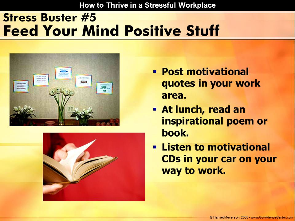 How to Thrive in a Stressful Workplace © Harriet Meyerson, 2008 www.ConfidenceCenter.com Stress Buster #5 Feed Your Mind Positive Stuff  Post motivational quotes in your work area.