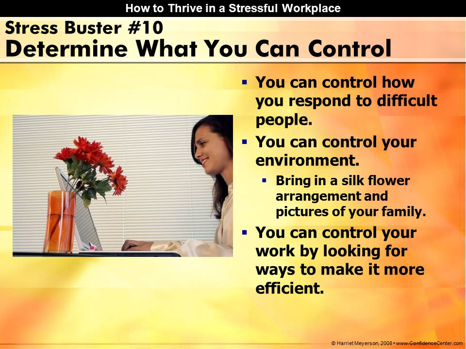 How to Thrive in a Stressful Workplace © Harriet Meyerson, 2008 www.ConfidenceCenter.com Stress Buster #10 Determine What You Can Control  You can control how you respond to difficult people.