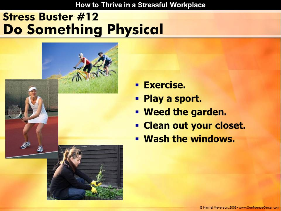 How to Thrive in a Stressful Workplace © Harriet Meyerson, 2008 www.ConfidenceCenter.com Stress Buster #12 Do Something Physical  Exercise.