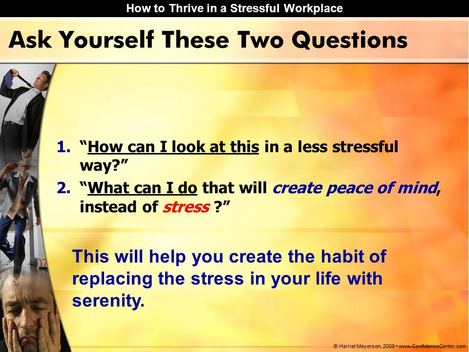 How to Thrive in a Stressful Workplace © Harriet Meyerson, 2008 www.ConfidenceCenter.com Ask Yourself These Two Questions 1. How can I look at this in a less stressful way 2. What can I do that will create peace of mind, instead of stress This will help you create the habit of replacing the stress in your life with serenity.