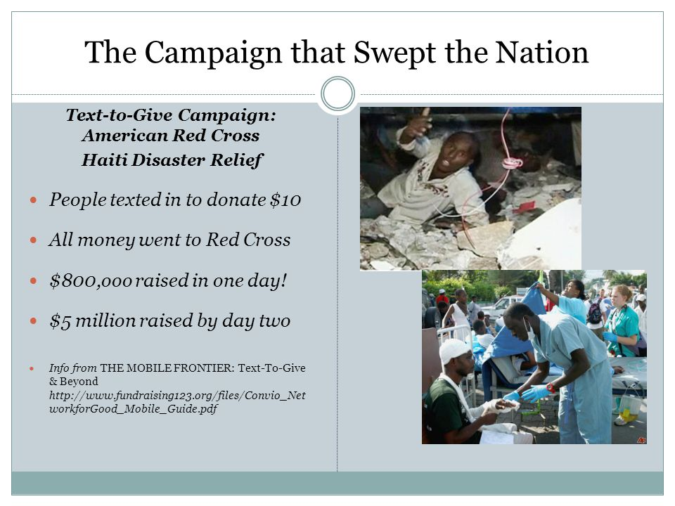 The Campaign that Swept the Nation Text-to-Give Campaign: American Red Cross Haiti Disaster Relief People texted in to donate $10 All money went to Red Cross $800,ooo raised in one day.