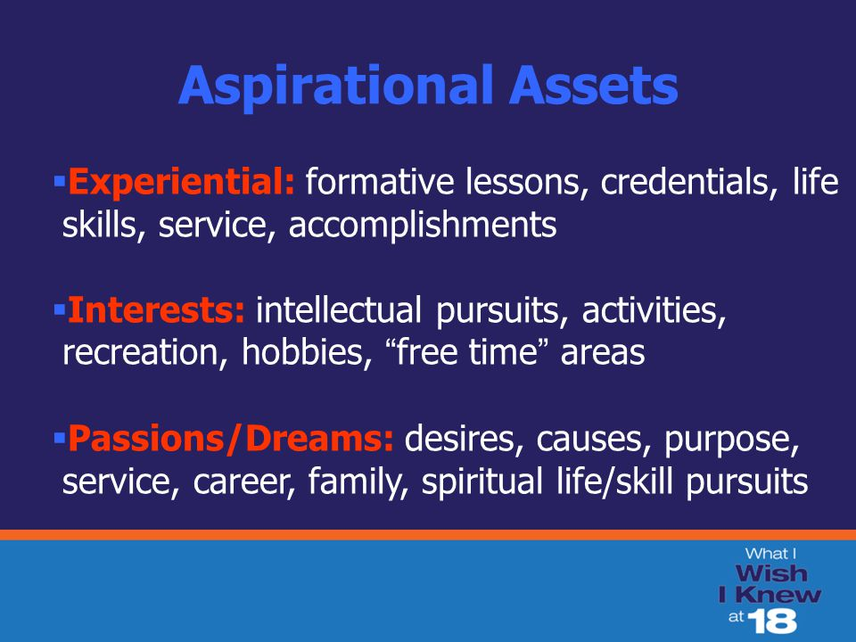 Aspirational Assets  Experiential: formative lessons, credentials, life skills, service, accomplishments  Interests: intellectual pursuits, activities, recreation, hobbies, free time areas  Passions/Dreams: desires, causes, purpose, service, career, family, spiritual life/skill pursuits