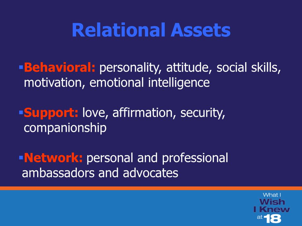 Relational Assets  Behavioral: personality, attitude, social skills, motivation, emotional intelligence  Support: love, affirmation, security, companionship  Network: personal and professional ambassadors and advocates