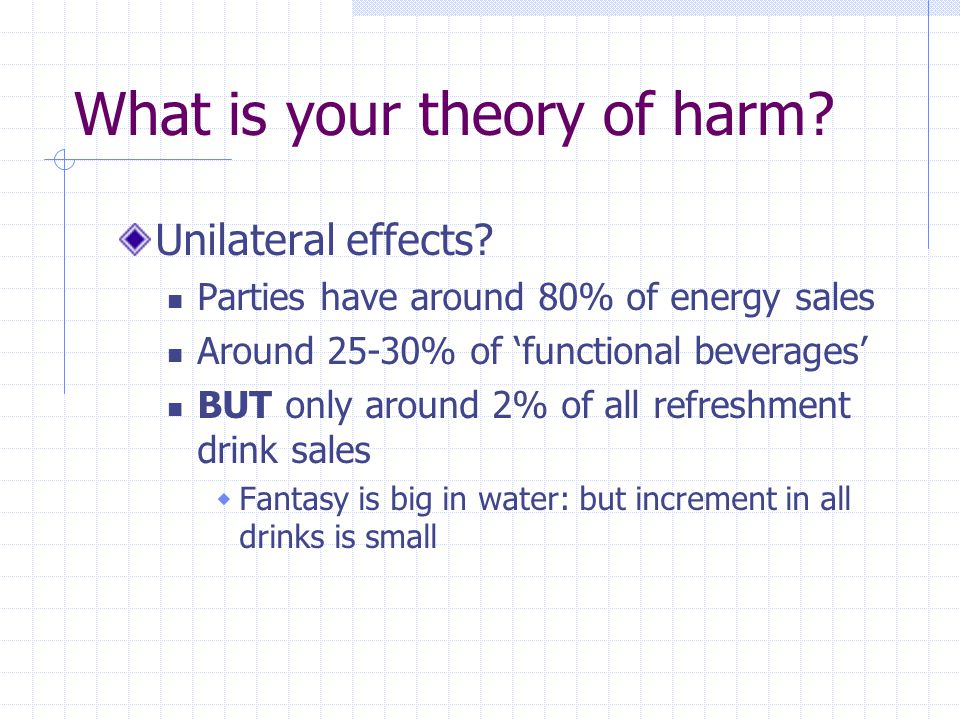 What is your theory of harm. Unilateral effects.