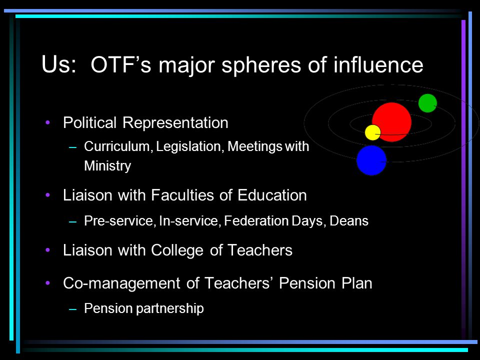 Us: OTF's major spheres of influence Political Representation –Curriculum, Legislation, Meetings with Ministry Liaison with Faculties of Education –Pre-service, In-service, Federation Days, Deans Liaison with College of Teachers Co-management of Teachers' Pension Plan –Pension partnership