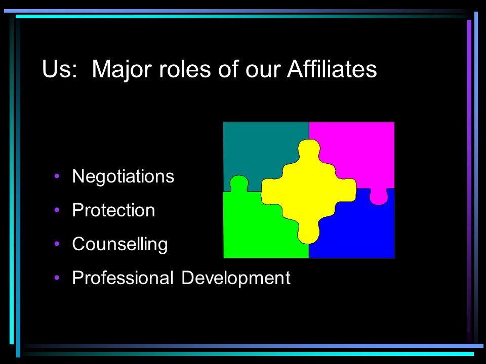 Us: Major roles of our Affiliates Negotiations Protection Counselling Professional Development