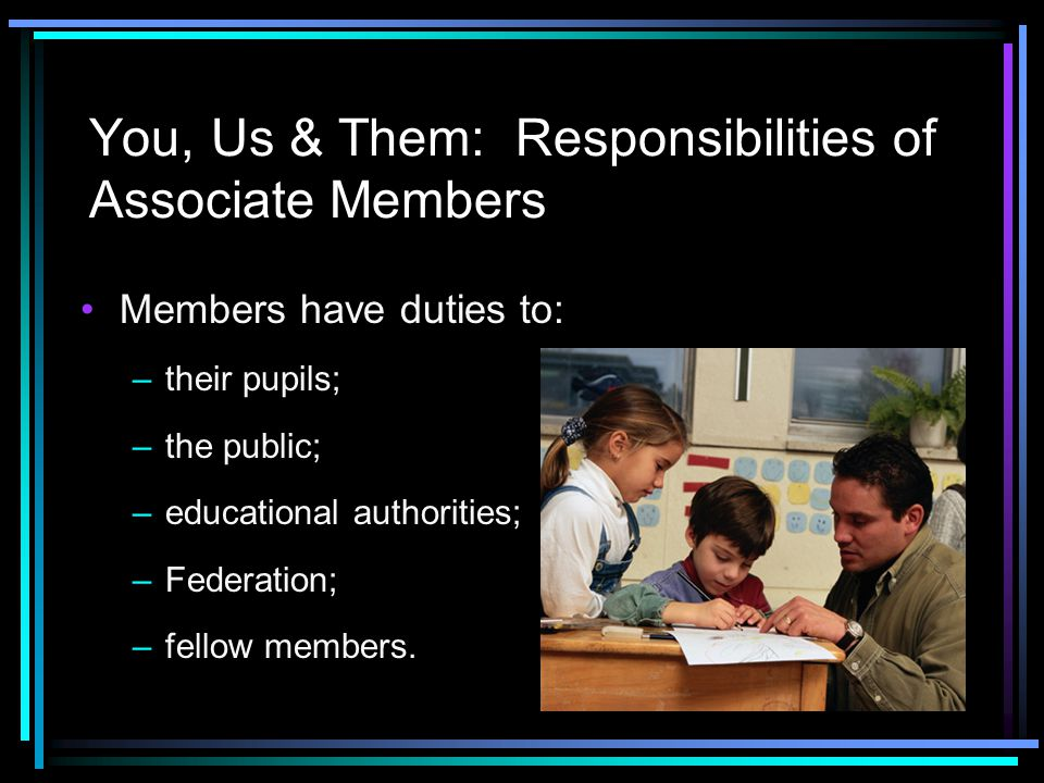 You, Us & Them: Responsibilities of Associate Members Members have duties to: –their pupils; –the public; –educational authorities; –Federation; –fell