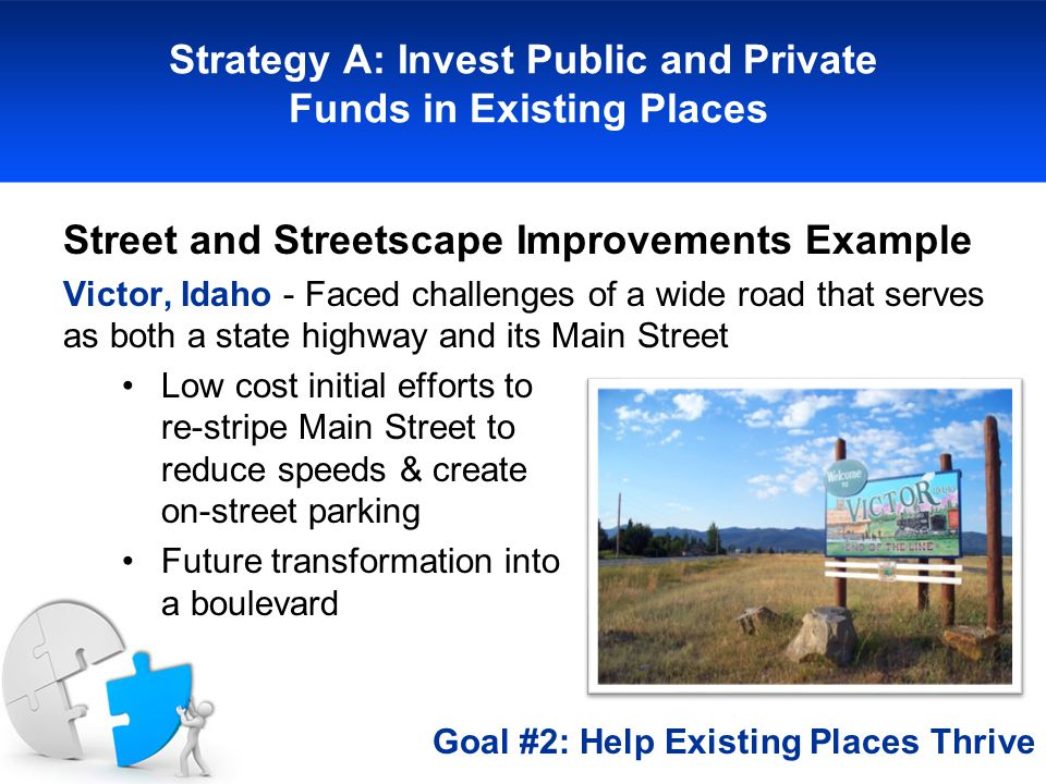 Strategy A: Invest Public and Private Funds in Existing Places Street and Streetscape Improvements Example Victor, Idaho - Faced challenges of a wide road that serves as both a state highway and its Main Street Low cost initial efforts to re-stripe Main Street to reduce speeds & create on-street parking Future transformation into a boulevard Goal #2: Help Existing Places Thrive