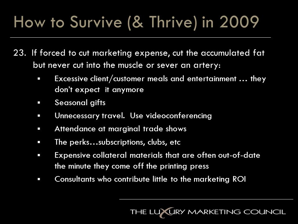 How to Survive (& Thrive) in 2009 23.