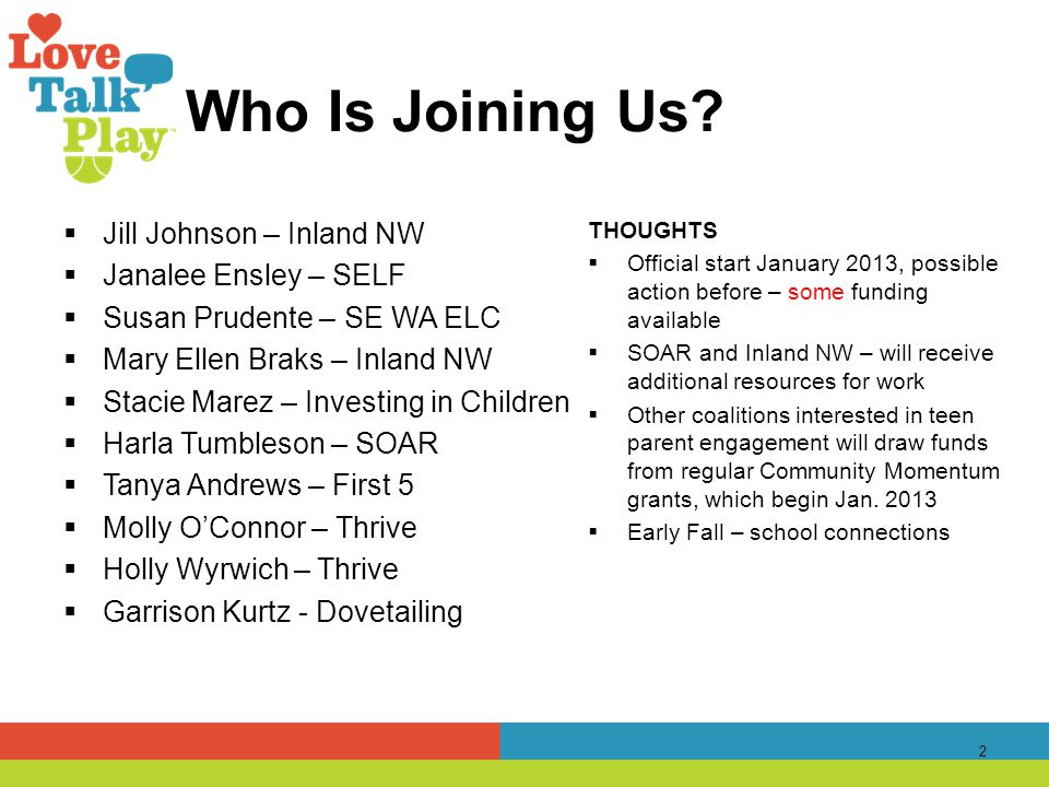 Who Is Joining Us?  Jill Johnson – Inland NW  Janalee Ensley – SELF  Susan Prudente – SE WA ELC  Mary Ellen Braks – Inland NW  Stacie Marez – Inv