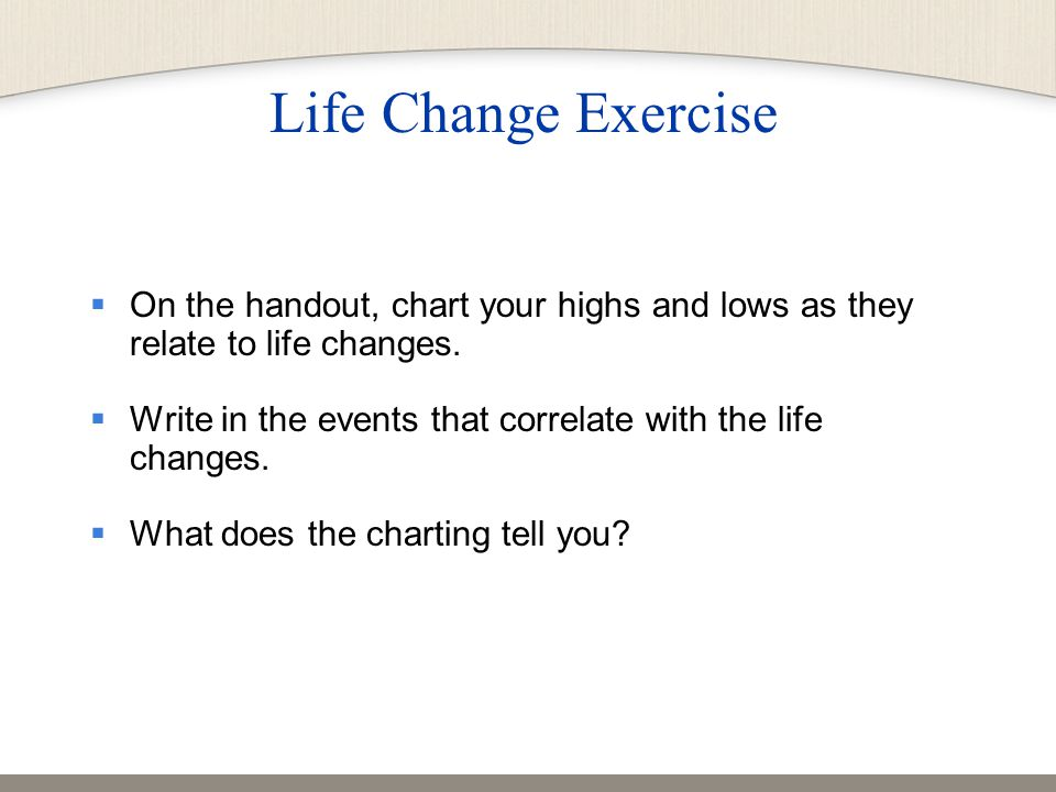  On the handout, chart your highs and lows as they relate to life changes.