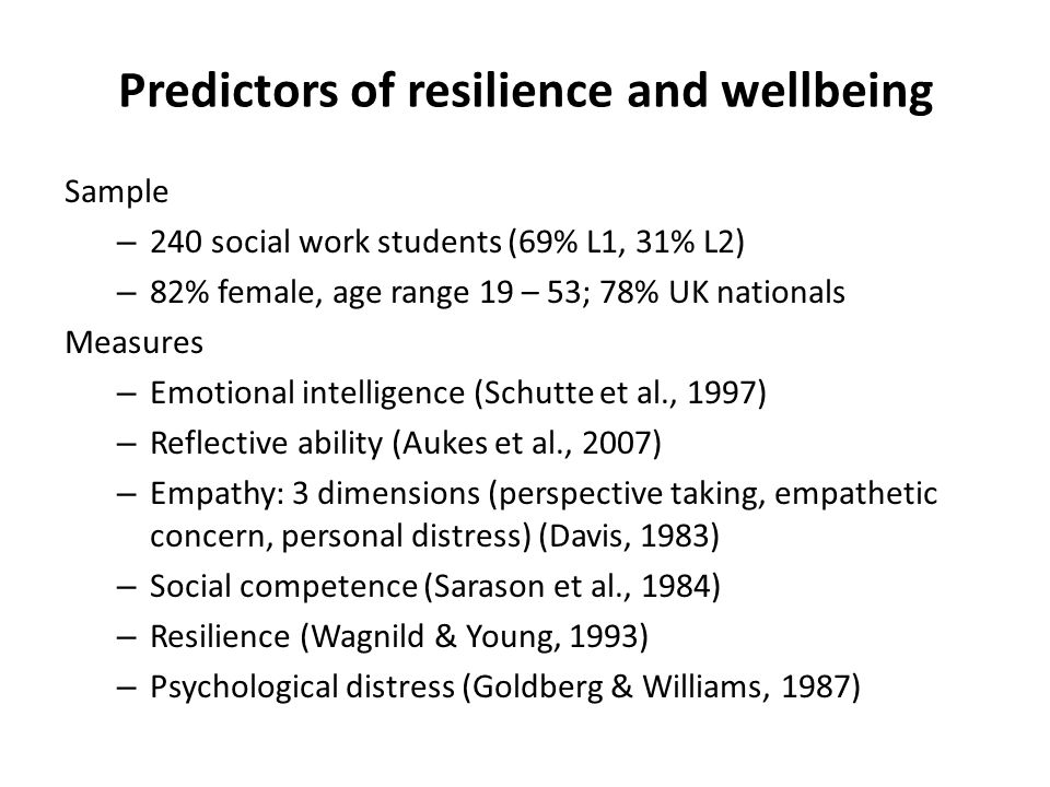 Predictors of resilience and wellbeing Sample – 240 social work students (69% L1, 31% L2) – 82% female, age range 19 – 53; 78% UK nationals Measures –