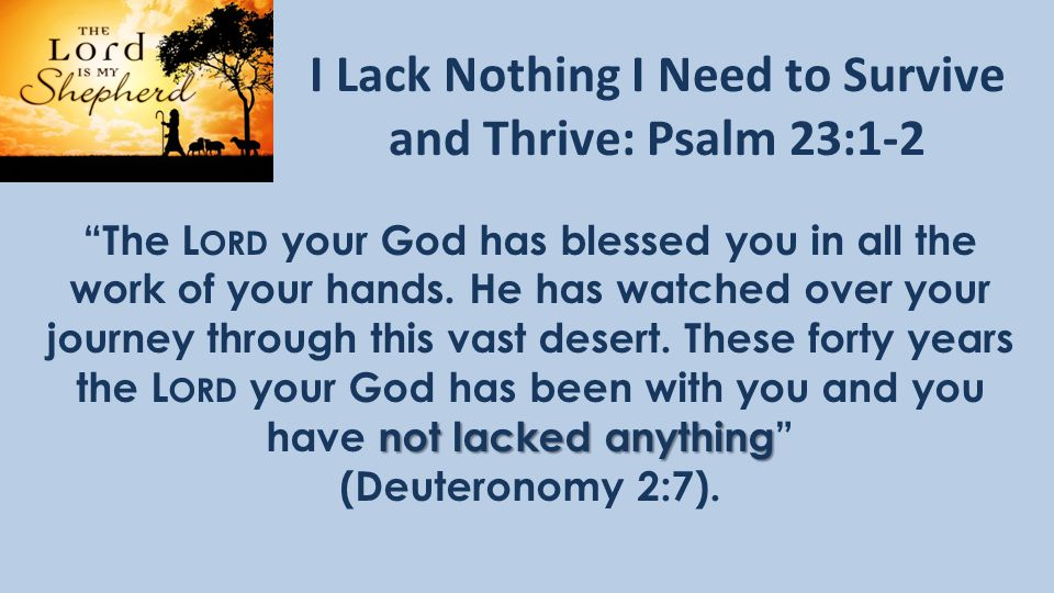 I Lack Nothing I Need to Survive and Thrive: Psalm 23:1-2 not lacked anything The L ORD your God has blessed you in all the work of your hands.