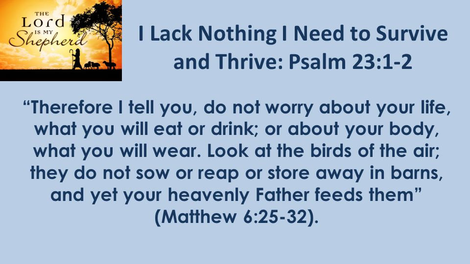 I Lack Nothing I Need to Survive and Thrive: Psalm 23:1-2 Therefore I tell you, do not worry about your life, what you will eat or drink; or about your body, what you will wear.