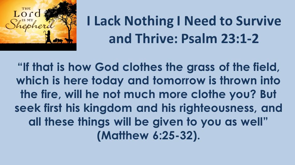 I Lack Nothing I Need to Survive and Thrive: Psalm 23:1-2 If that is how God clothes the grass of the field, which is here today and tomorrow is thrown into the fire, will he not much more clothe you.