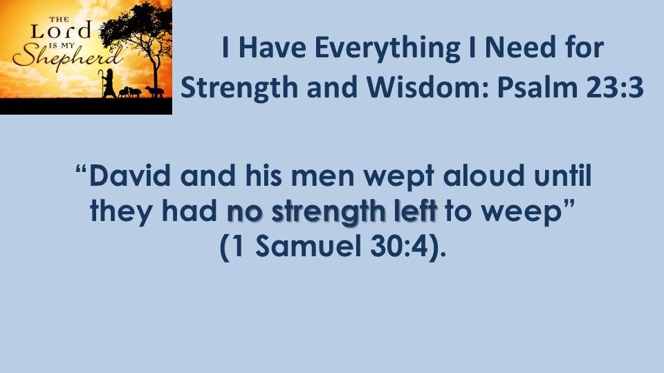 I Have Everything I Need for Strength and Wisdom: Psalm 23:3 David and his men wept aloud until no strength left they had no strength left to weep (1 Samuel 30:4).