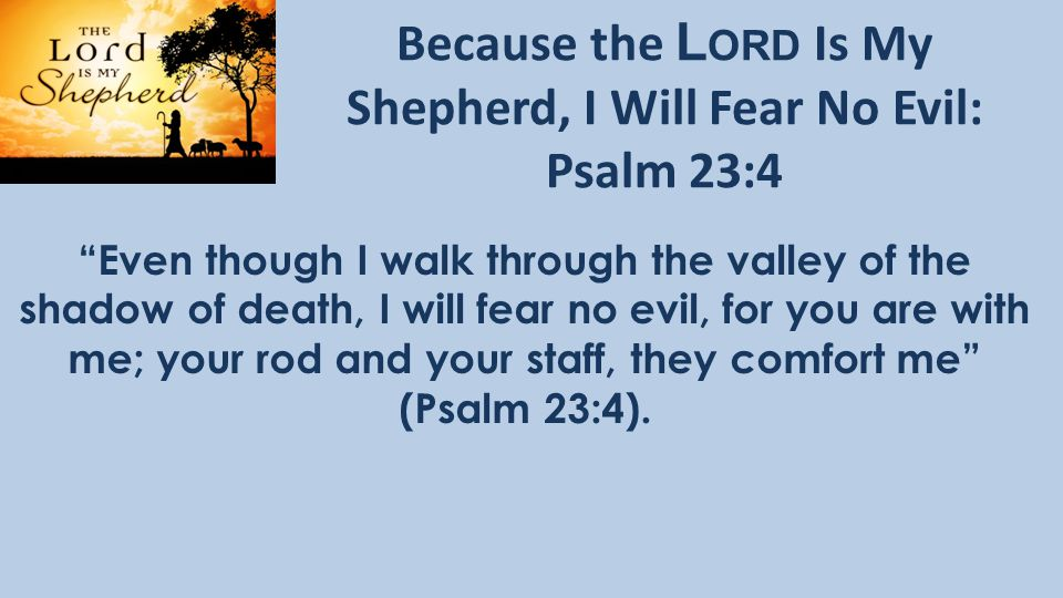 Because the L ORD Is My Shepherd, I Will Fear No Evil: Psalm 23:4 Even though I walk through the valley of the shadow of death, I will fear no evil, for you are with me; your rod and your staff, they comfort me (Psalm 23:4).