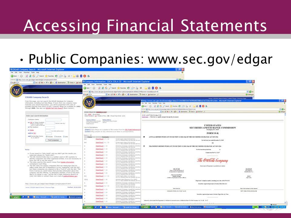 Accessing Financial Statements Public Companies: www.sec.gov/edgar