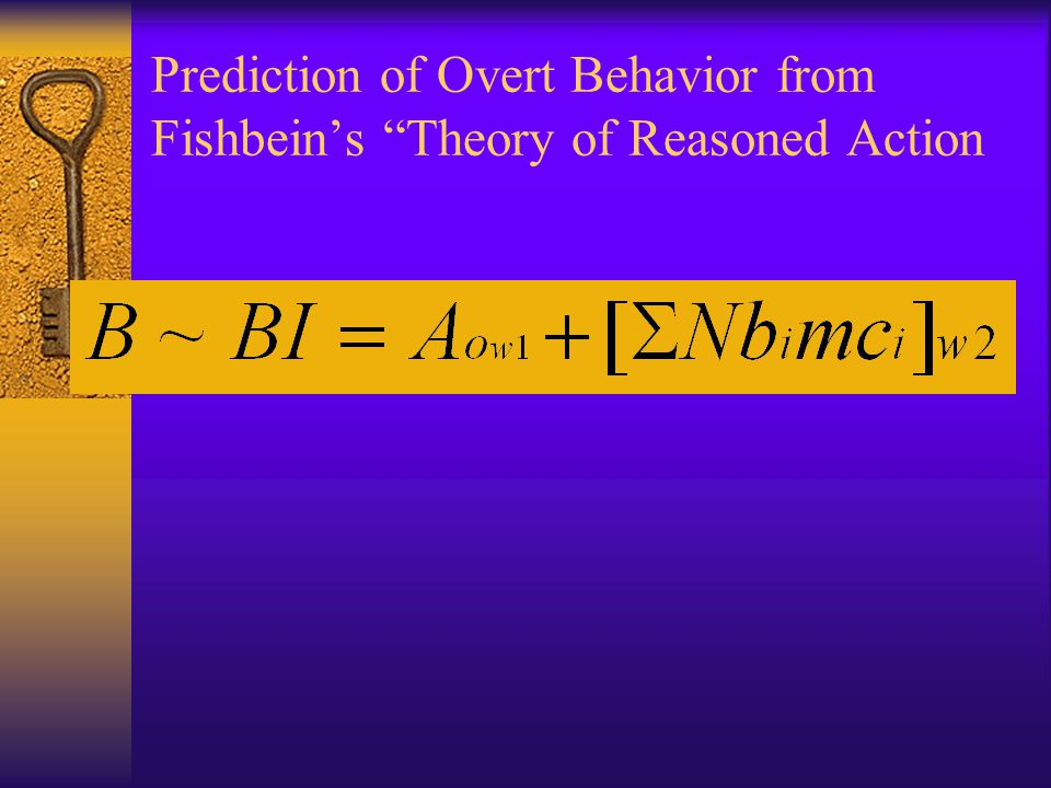 Prediction of Overt Behavior from Fishbein's Theory of Reasoned Action