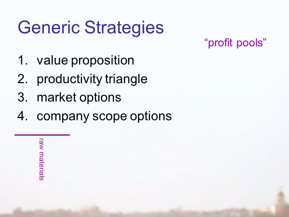Generic Strategies 1.value proposition 2.productivity triangle 3.market options 4.company scope options raw materials profit pools
