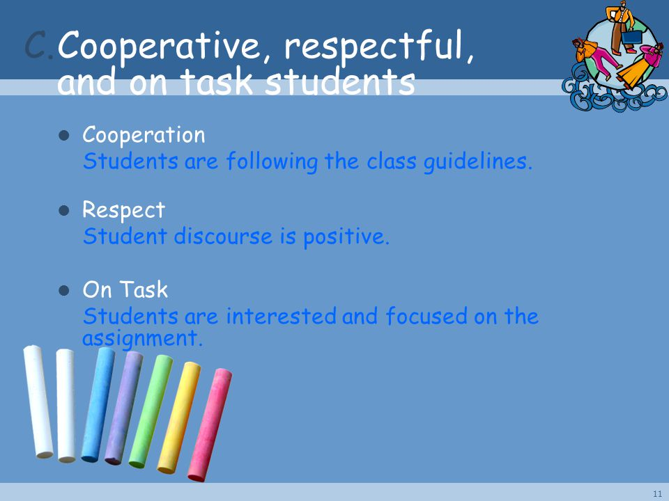 C.Cooperative, respectful, and on task students Cooperation Students are following the class guidelines. Respect Student discourse is positive. On Tas