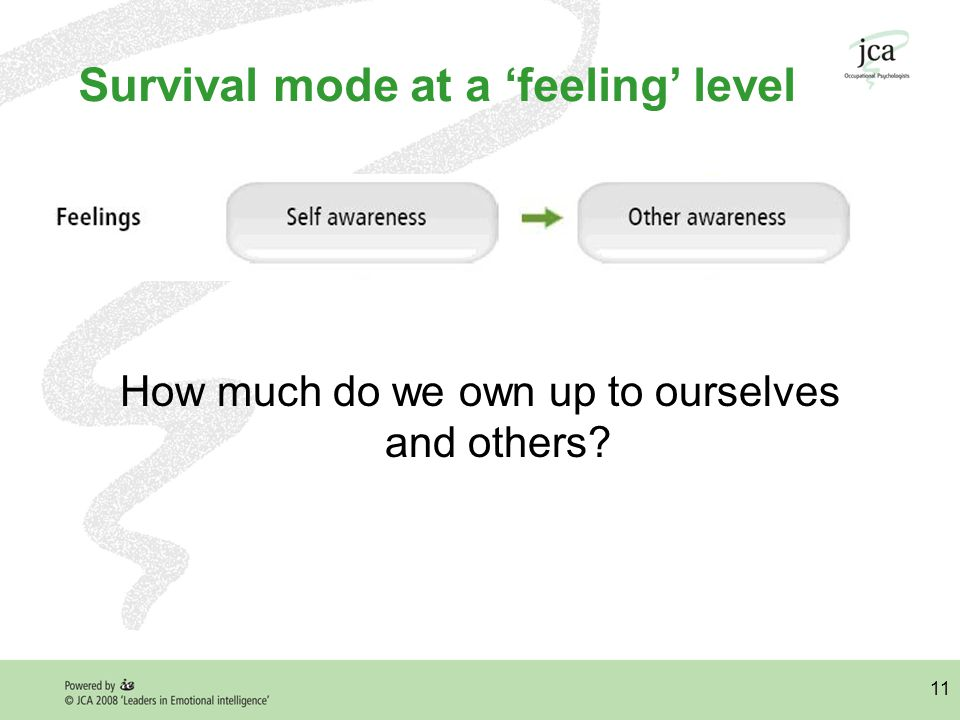 11 Survival mode at a 'feeling' level How much do we own up to ourselves and others