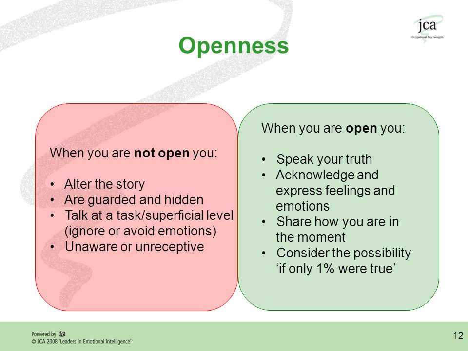 12 Openness When you are not open you: Alter the story Are guarded and hidden Talk at a task/superficial level (ignore or avoid emotions) Unaware or unreceptive When you are open you: Speak your truth Acknowledge and express feelings and emotions Share how you are in the moment Consider the possibility 'if only 1% were true'