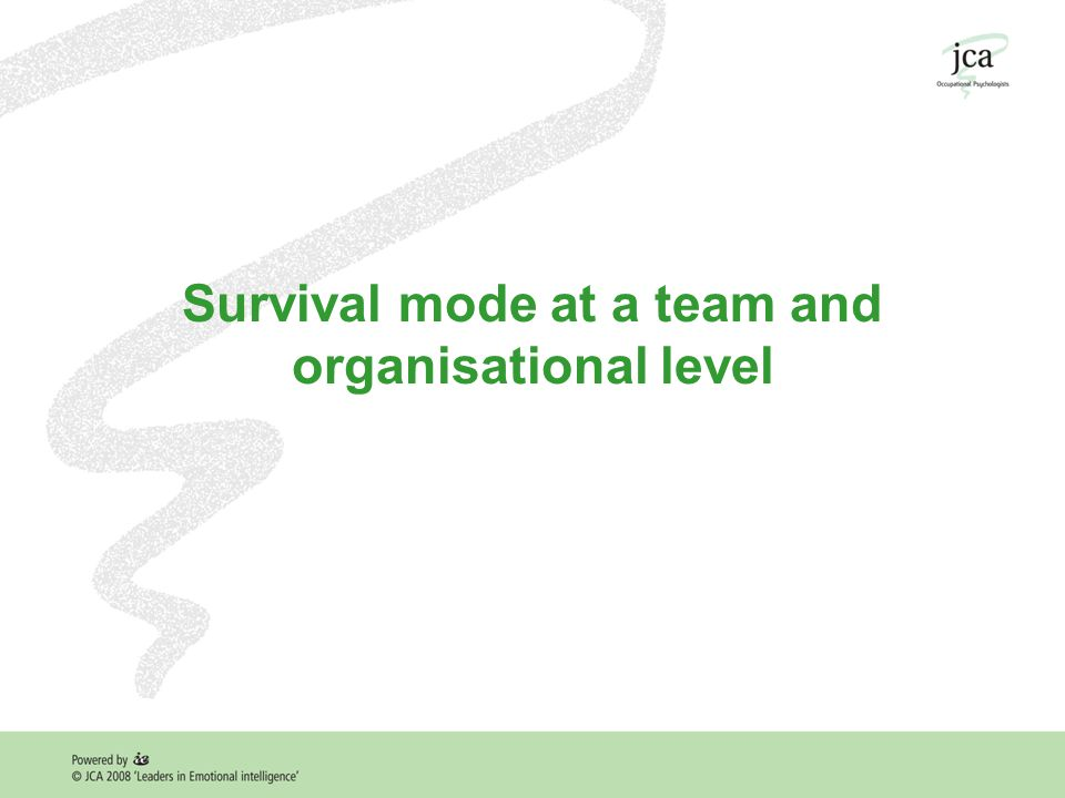 Survival mode at a team and organisational level