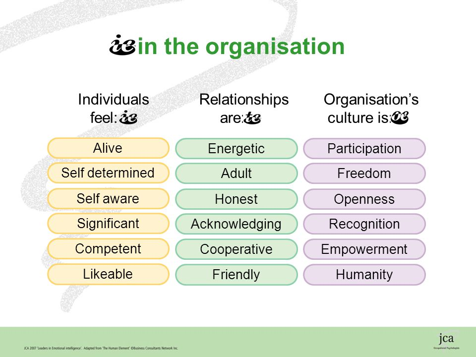 19 Energetic Adult Honest Acknowledging Cooperative Friendly Alive Self determined Self aware Significant Competent Likeable Participation Freedom Openness Recognition Empowerment Humanity in the organisation Individuals feel: Relationships are: Organisation's culture is: